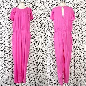 Eloquii | Hot Pink Ruffle Sleeve Jumpsuit Romper